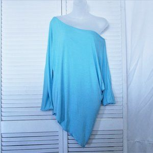 INC turquoise rayon asymmetrical tunic M